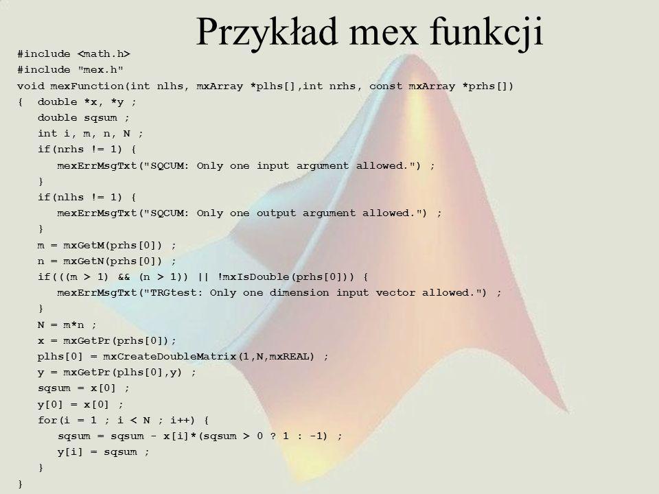 Przykład mex funkcji #include #include