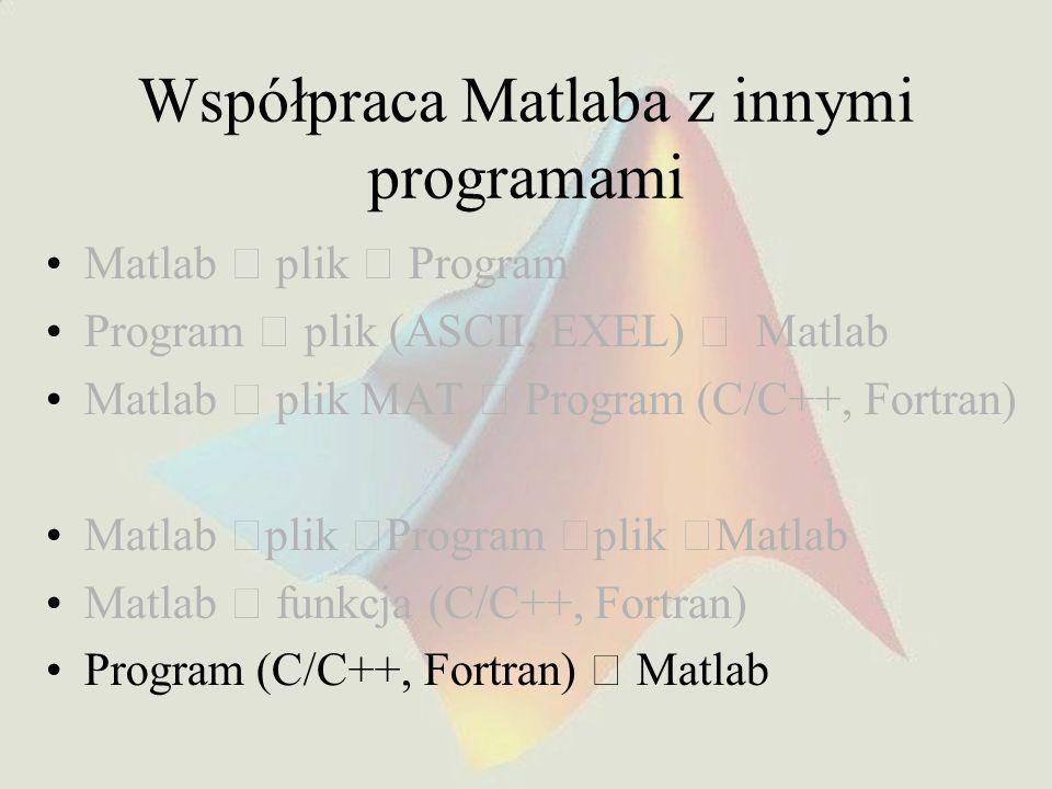 Współpraca Matlaba z innymi programami Matlab  plik  Program Program  plik (ASCII, EXEL)  Matlab Matlab  plik MAT  Program (C/C++, Fortran) Matl