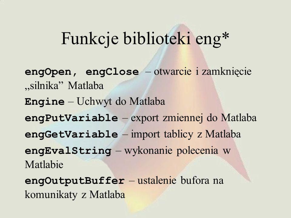 """Funkcje biblioteki eng* engOpen, engClose – otwarcie i zamknięcie """"silnika Matlaba Engine – Uchwyt do Matlaba engPutVariable – export zmiennej do Matlaba engGetVariable – import tablicy z Matlaba engEvalString – wykonanie polecenia w Matlabie engOutputBuffer – ustalenie bufora na komunikaty z Matlaba"""