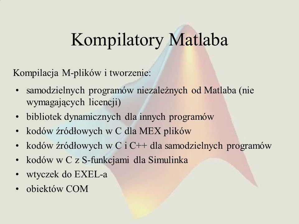 Kompilatory Matlaba samodzielnych programów niezależnych od Matlaba (nie wymagających licencji) bibliotek dynamicznych dla innych programów kodów źródłowych w C dla MEX plików kodów źródłowych w C i C++ dla samodzielnych programów kodów w C z S-funkcjami dla Simulinka wtyczek do EXEL-a obiektów COM Kompilacja M-plików i tworzenie: