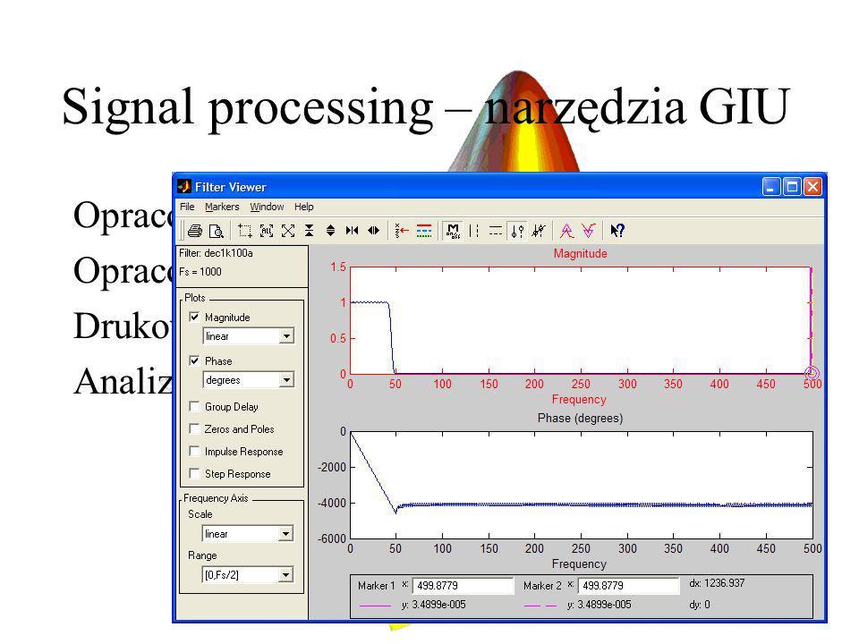 Signal processing – narzędzia GIU Opracowanie i analiza filtrów Opracowanie i analiza okienkowania Drukowanie i analiza sygnałów czasowych Analiza spe