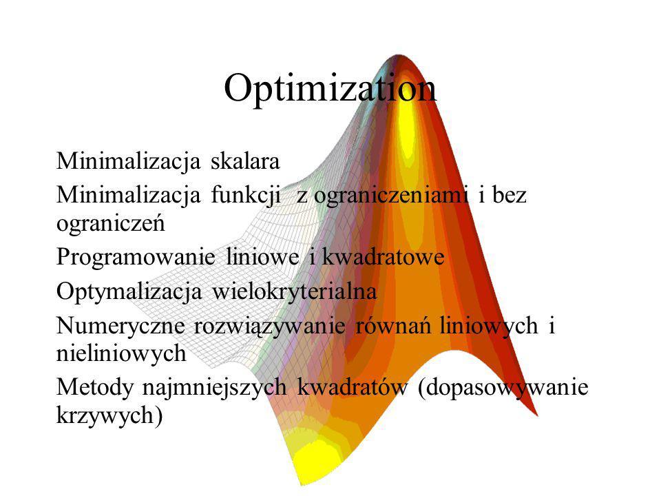 Optimization Minimalizacja skalara Minimalizacja funkcji z ograniczeniami i bez ograniczeń Programowanie liniowe i kwadratowe Optymalizacja wielokryterialna Numeryczne rozwiązywanie równań liniowych i nieliniowych Metody najmniejszych kwadratów (dopasowywanie krzywych)