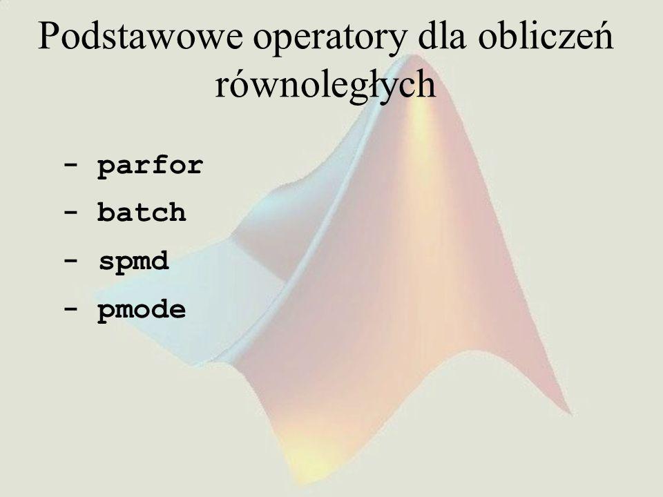 SPMD -tablice rozproszone Tablice podzielone pomiędzy zasoby pamięciowe labów Ze strony klienta – DistributedArray matlabpool open local 2 W = ones(6,6); W = distributed(W); spmd T = W*2; end matlabpool close Ze strony labu – CodistributedArray matlabpool open local 2 spmd codist = codistributor1d(3, [4, 12]); Z = codistributed.zeros(3, 3, 16, codist); Z = Z + labindex; end matlabpool close