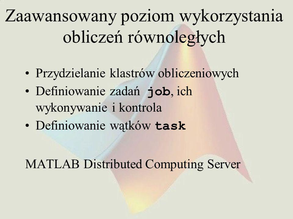 Zaawansowany poziom wykorzystania obliczeń równoległych Przydzielanie klastrów obliczeniowych Definiowanie zadań job, ich wykonywanie i kontrola Definiowanie wątków task MATLAB Distributed Computing Server