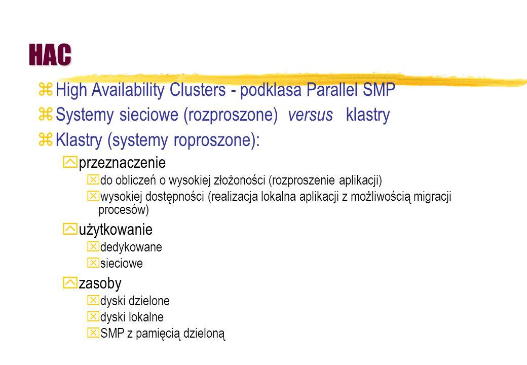 HAC zHigh Availability Clusters - podklasa Parallel SMP zSystemy sieciowe (rozproszone) versus klastry zKlastry (systemy roproszone): yprzeznaczenie x