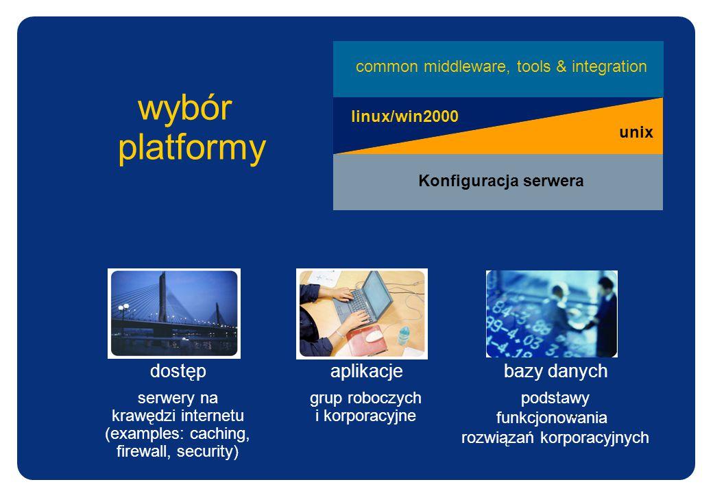 platformy wybór linux/win2000 unix common middleware, tools & integration Konfiguracja serwera dostęp serwery na krawędzi internetu (examples: caching