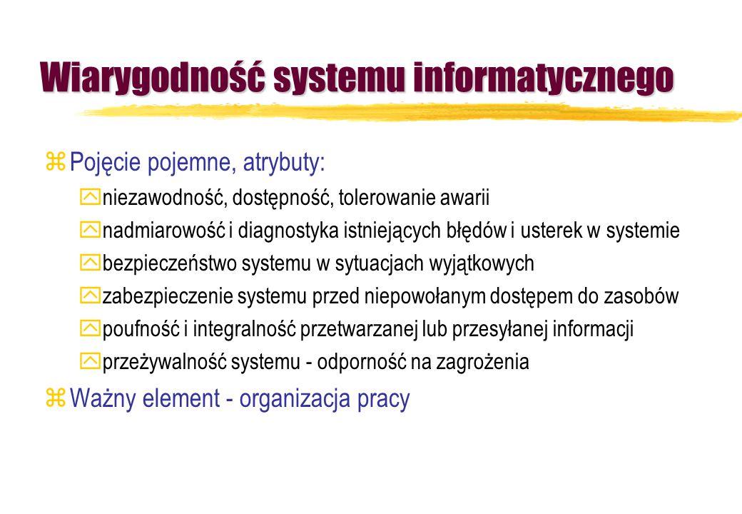 Wiarygodność systemu informatycznego zPojęcie pojemne, atrybuty: yniezawodność, dostępność, tolerowanie awarii ynadmiarowość i diagnostyka istniejącyc