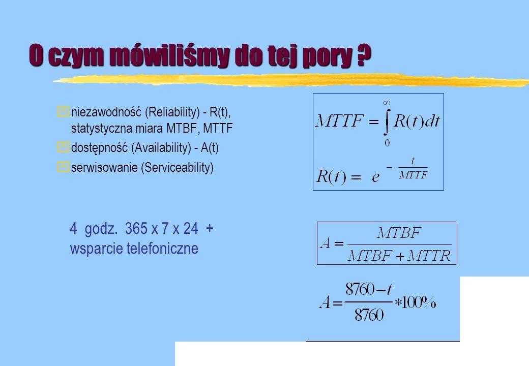 O czym mówiliśmy do tej pory ? yniezawodność (Reliability) - R(t), statystyczna miara MTBF, MTTF ydostępność (Availability) - A(t) yserwisowanie (Serv