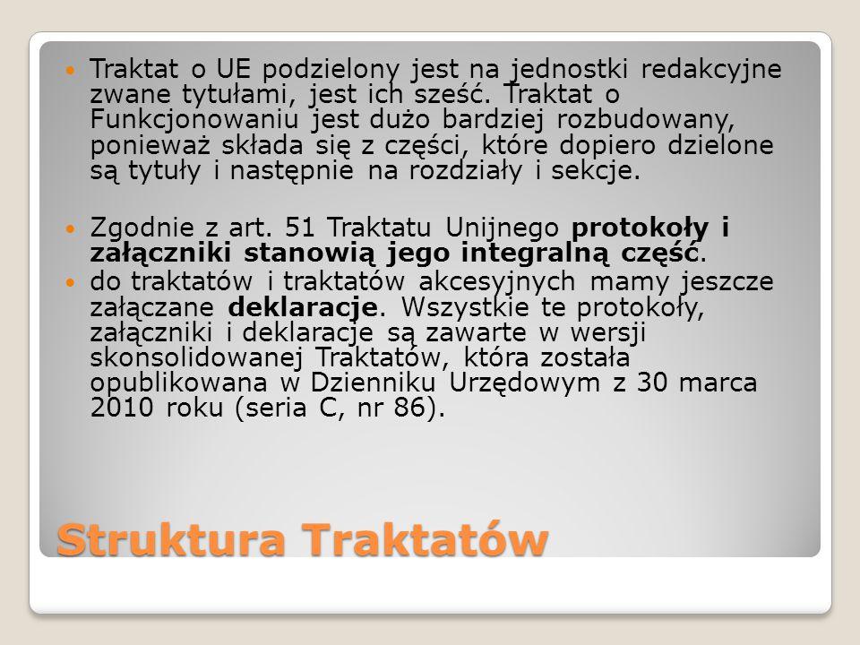 Struktura Traktatów Traktat o UE podzielony jest na jednostki redakcyjne zwane tytułami, jest ich sześć.