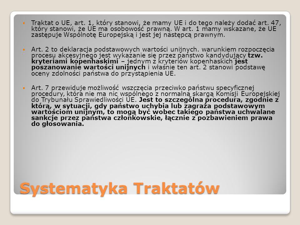 Systematyka Traktatów Traktat o UE, art. 1, który stanowi, że mamy UE i do tego należy dodać art.