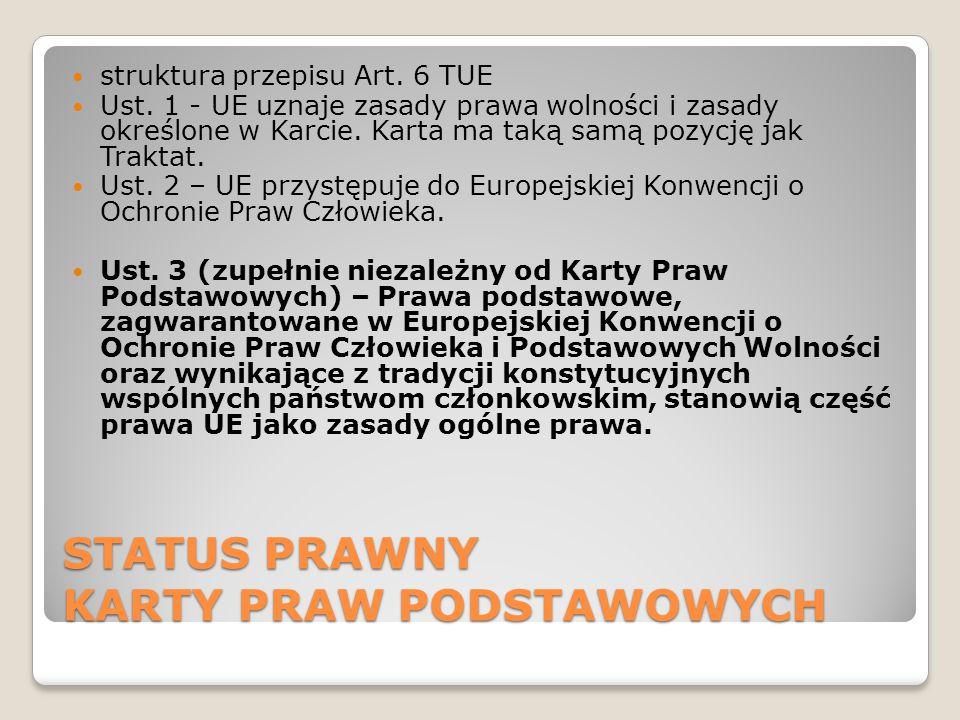 STATUS PRAWNY KARTY PRAW PODSTAWOWYCH struktura przepisu Art.
