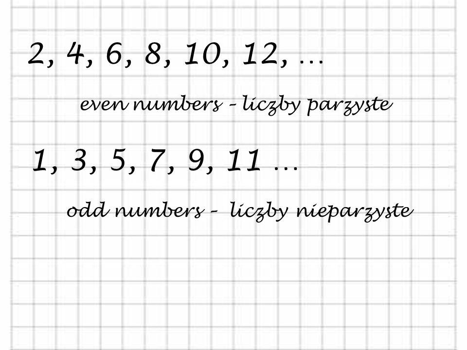 NUMBERS - LICZBY 0, 1, 2, 3, 4, 5, … positive numbers – liczby dodatnie -1, -2, -3, -4, -5, … negative numbers – liczby ujemne