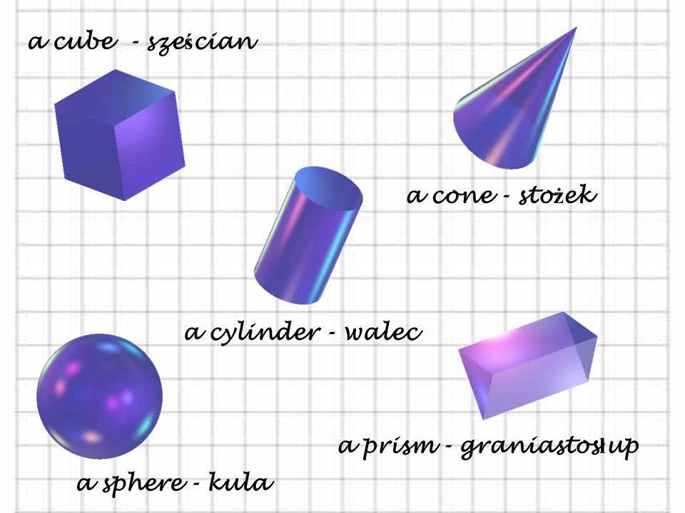 a triangle - trójk ą t an equilaterial triangle – trójk ą t równoboczny an isosceles triangle – trójk ą t równoramienny a right-angled triangle – trój