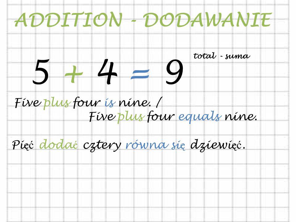 ADDITION - DODAWANIE 5 + 4 = 9 Five plus four is nine.