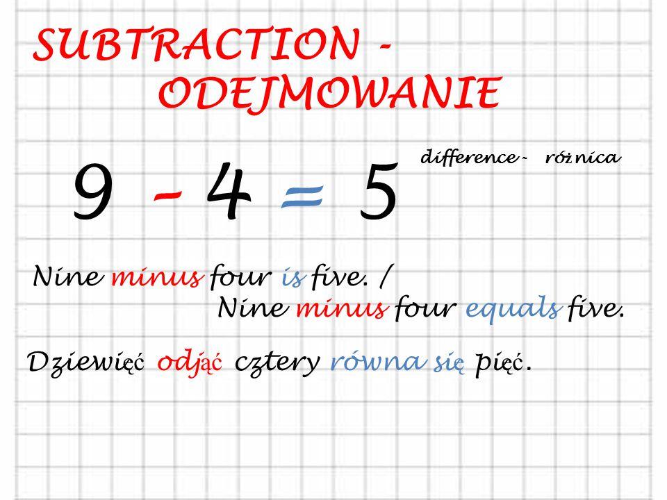 ADDITION - DODAWANIE 5 + 4 = 9 Five plus four is nine. / Five plus four equals nine. total - suma Pi ęć doda ć cztery równa si ę dziewi ęć.