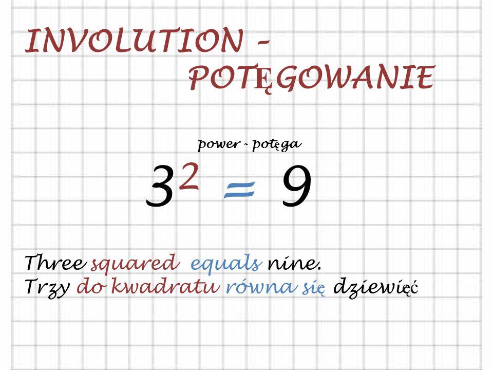 INVOLUTION – POT Ę GOWANIE 3 2 = 9 Three squared equals nine.