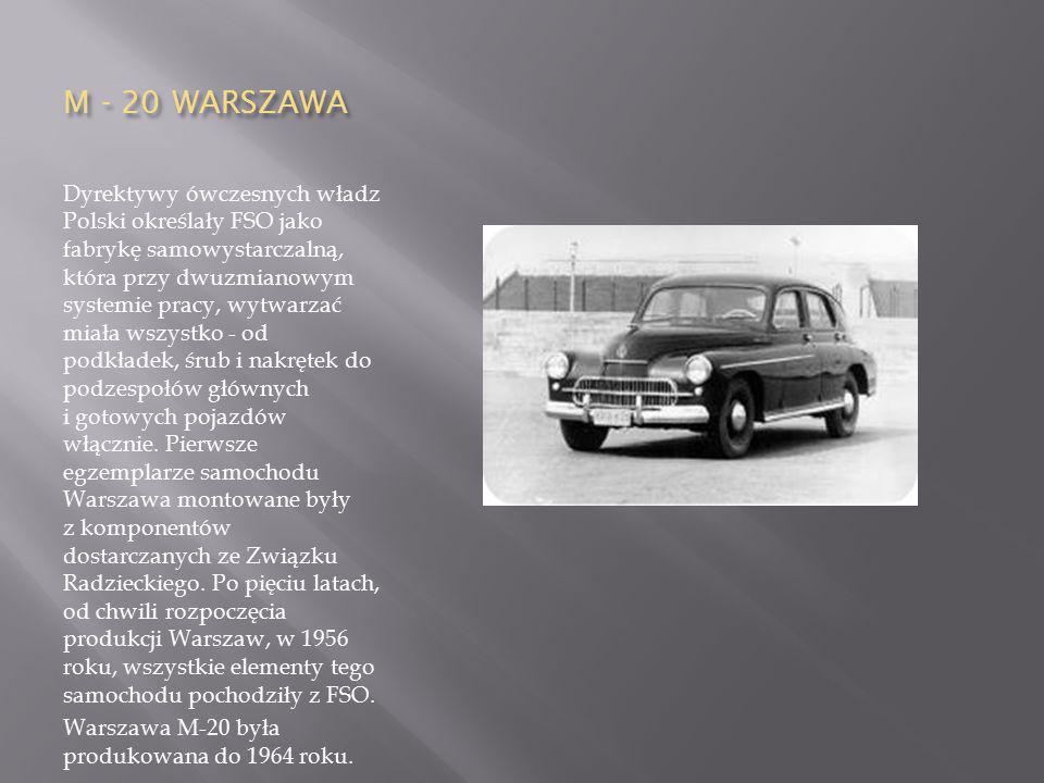 M - 20 WARSZAWA Dyrektywy ówczesnych władz Polski określały FSO jako fabrykę samowystarczalną, która przy dwuzmianowym systemie pracy, wytwarzać miała