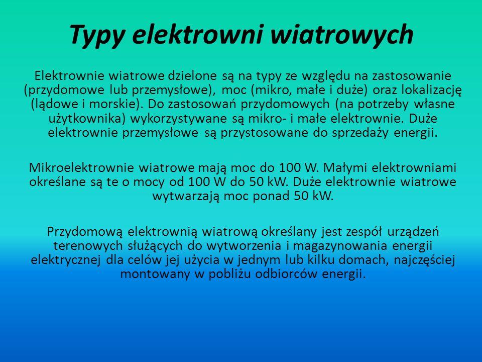 Typy elektrowni wiatrowych Elektrownie wiatrowe dzielone są na typy ze względu na zastosowanie (przydomowe lub przemysłowe), moc (mikro, małe i duże)