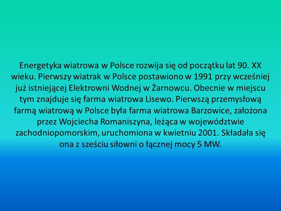 Energetyka wiatrowa w Polsce rozwija się od początku lat 90. XX wieku. Pierwszy wiatrak w Polsce postawiono w 1991 przy wcześniej już istniejącej Elek