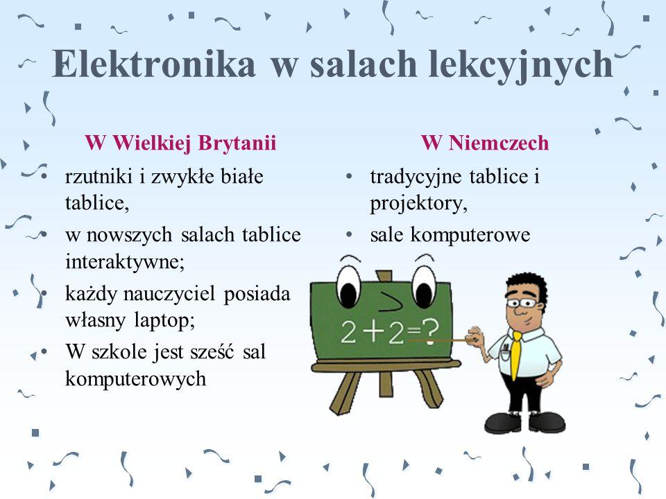Elektronika w salach lekcyjnych W Wielkiej Brytanii rzutniki i zwykłe białe tablice, w nowszych salach tablice interaktywne; każdy nauczyciel posiada