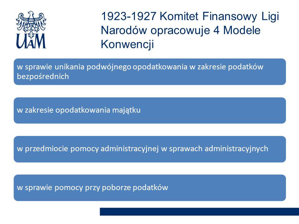 w sprawie unikania podwójnego opodatkowania w zakresie podatków bezpośrednich w zakresie opodatkowania majątkuw przedmiocie pomocy administracyjnej w sprawach administracyjnychw sprawie pomocy przy poborze podatków 1923-1927 Komitet Finansowy Ligi Narodów opracowuje 4 Modele Konwencji