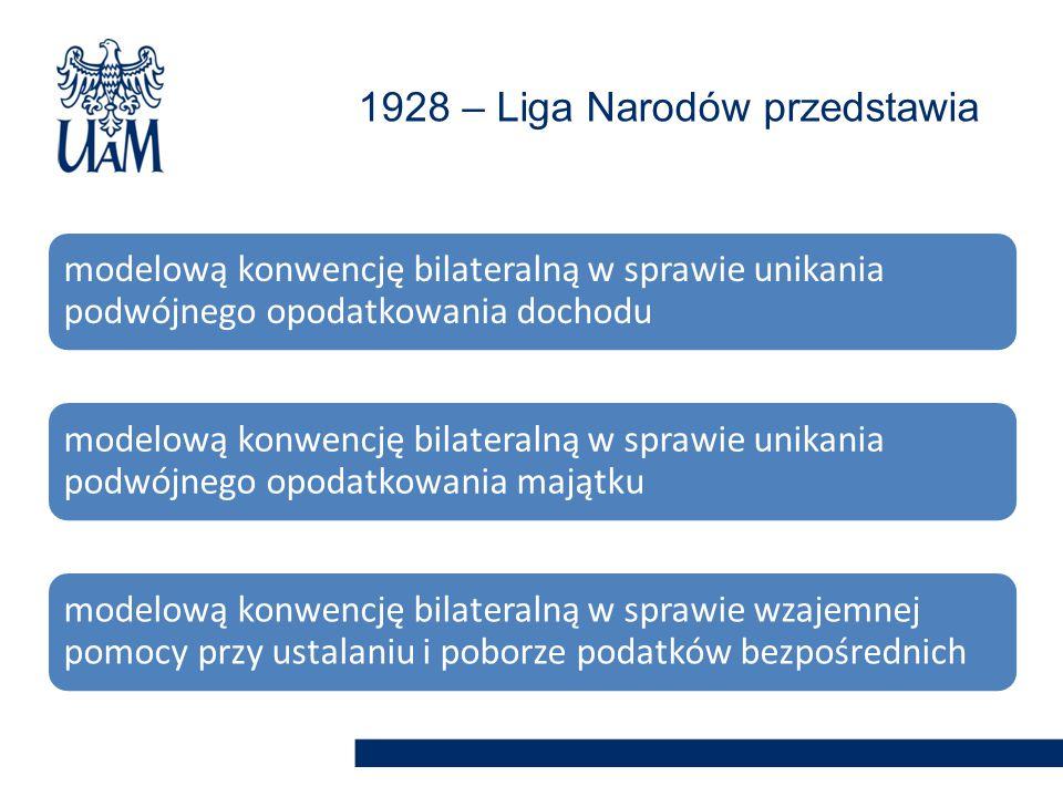 modelową konwencję bilateralną w sprawie unikania podwójnego opodatkowania dochodu modelową konwencję bilateralną w sprawie unikania podwójnego opodatkowania majątku modelową konwencję bilateralną w sprawie wzajemnej pomocy przy ustalaniu i poborze podatków bezpośrednich 1928 – Liga Narodów przedstawia