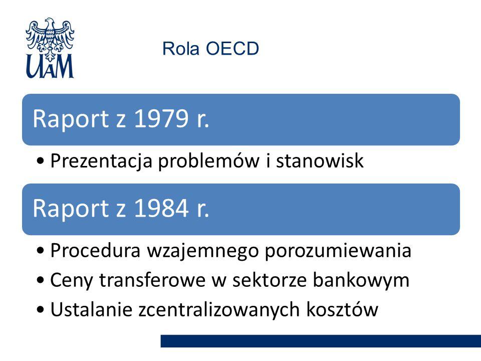 Raport z 1979 r. Prezentacja problemów i stanowisk Raport z 1984 r. Procedura wzajemnego porozumiewania Ceny transferowe w sektorze bankowym Ustalanie