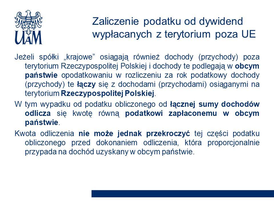 """Jeżeli spółki """"krajowe osiągają również dochody (przychody) poza terytorium Rzeczypospolitej Polskiej i dochody te podlegają w obcym państwie opodatkowaniu w rozliczeniu za rok podatkowy dochody (przychody) te łączy się z dochodami (przychodami) osiąganymi na terytorium Rzeczypospolitej Polskiej."""
