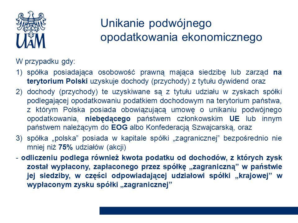 """W przypadku gdy: 1)spółka posiadająca osobowość prawną mająca siedzibę lub zarząd na terytorium Polski uzyskuje dochody (przychody) z tytułu dywidend oraz 2)dochody (przychody) te uzyskiwane są z tytułu udziału w zyskach spółki podlegającej opodatkowaniu podatkiem dochodowym na terytorium państwa, z którym Polska posiada obowiązującą umowę o unikaniu podwójnego opodatkowania, niebędącego państwem członkowskim UE lub innym państwem należącym do EOG albo Konfederacją Szwajcarską, oraz 3)spółka """"polska posiada w kapitale spółki """"zagranicznej bezpośrednio nie mniej niż 75% udziałów (akcji) - odliczeniu podlega również kwota podatku od dochodów, z których zysk został wypłacony, zapłaconego przez spółkę """"zagraniczną w państwie jej siedziby, w części odpowiadającej udziałowi spółki """"krajowej w wypłaconym zysku spółki """"zagranicznej Unikanie podwójnego opodatkowania ekonomicznego"""