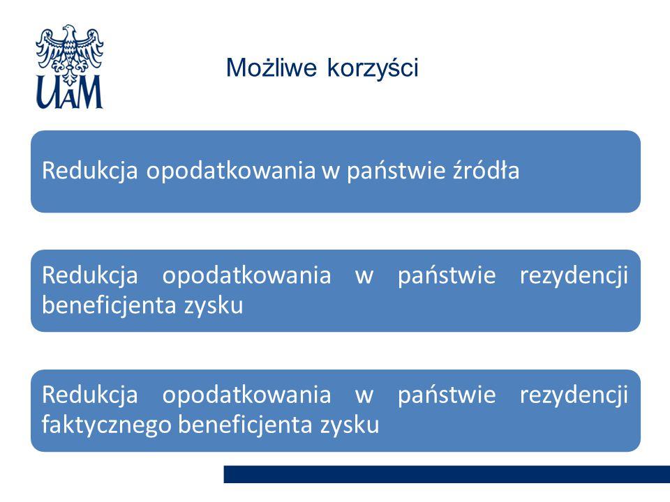 Redukcja opodatkowania w państwie źródła Redukcja opodatkowania w państwie rezydencji beneficjenta zysku Redukcja opodatkowania w państwie rezydencji