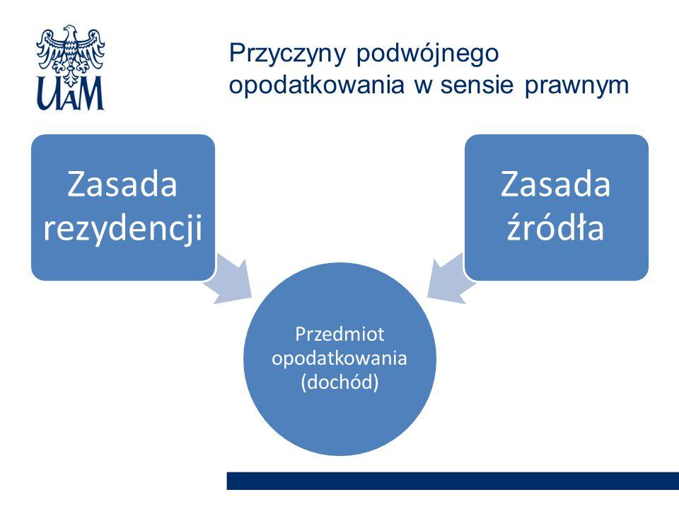 Przedmiot opodatkowani a (dochód) Zasada rezydencji Zasada źródła Przyczyny podwójnego opodatkowania w sensie prawnym