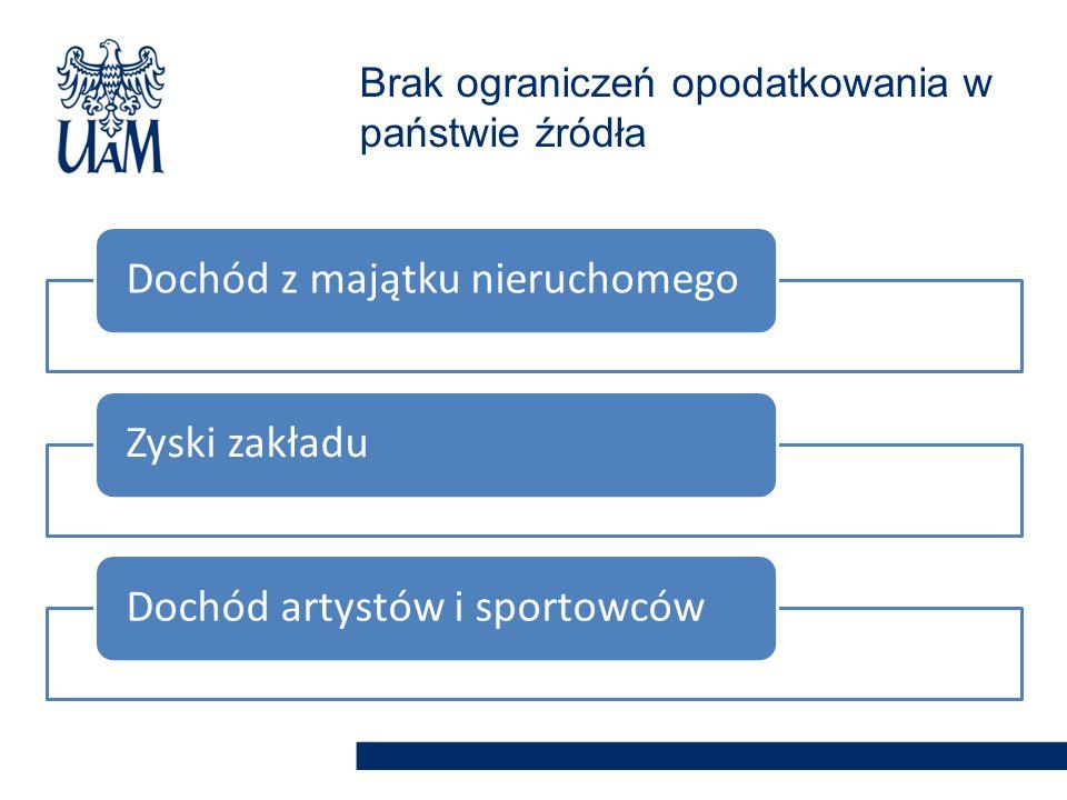 Dochód z majątku nieruchomegoZyski zakładuDochód artystów i sportowców Brak ograniczeń opodatkowania w państwie źródła