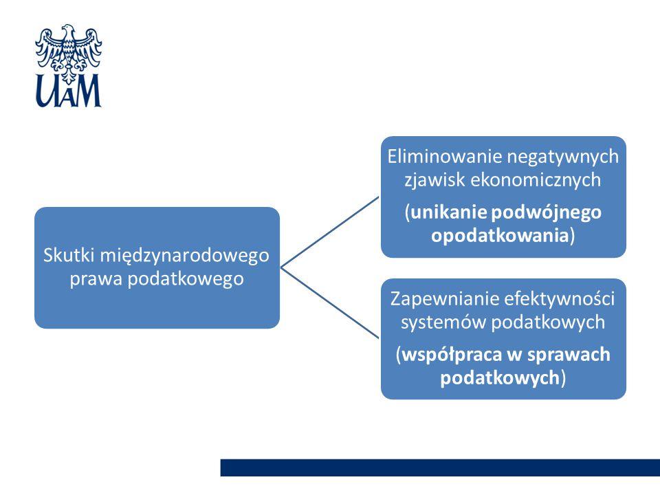 Skutki międzynarodowego prawa podatkowego Eliminowanie negatywnych zjawisk ekonomicznych (unikanie podwójnego opodatkowania) Zapewnianie efektywności systemów podatkowych (współpraca w sprawach podatkowych)
