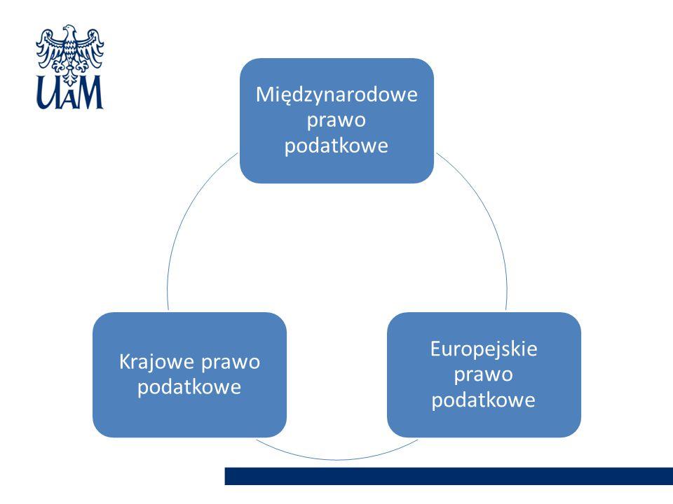 Międzynarodowe prawo podatkowe Europejskie prawo podatkowe Krajowe prawo podatkowe