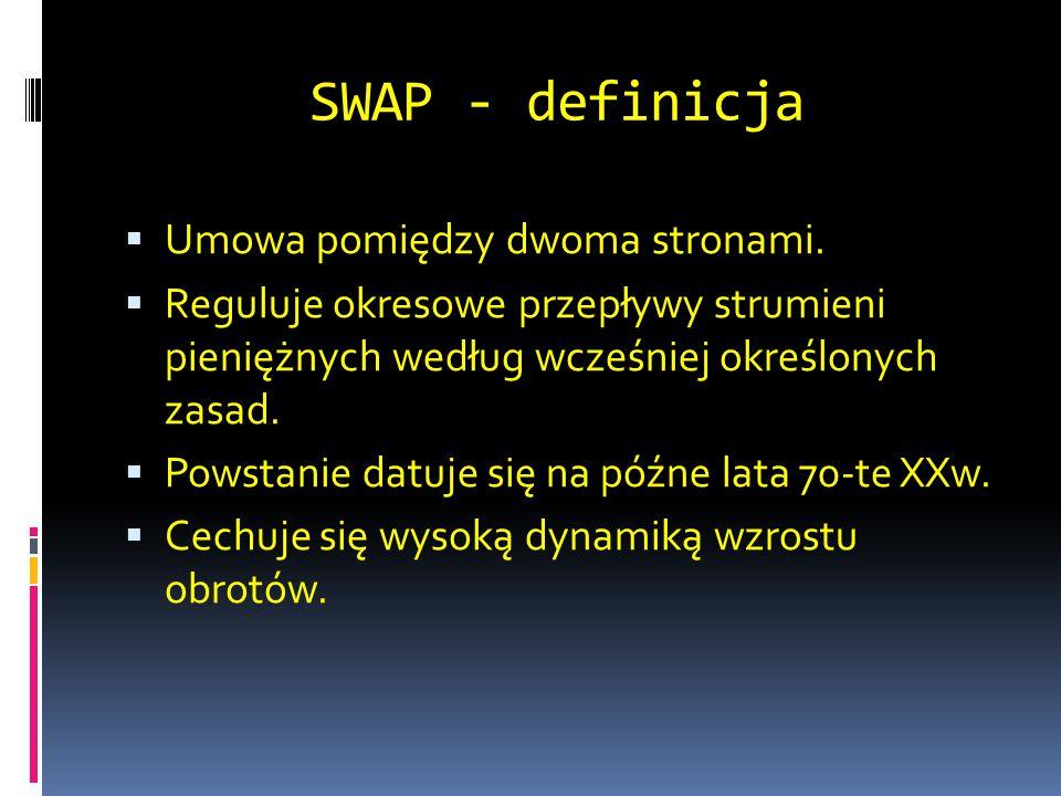 SWAP - definicja  Umowa pomiędzy dwoma stronami.  Reguluje okresowe przepływy strumieni pieniężnych według wcześniej określonych zasad.  Powstanie