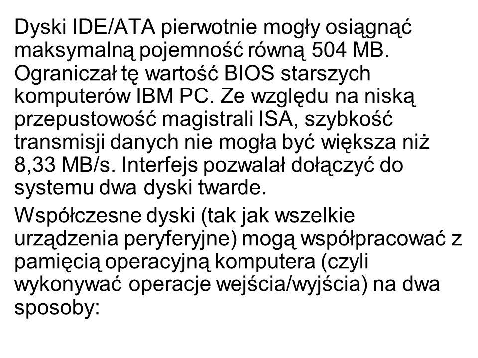 Dyski IDE/ATA pierwotnie mogły osiągnąć maksymalną pojemność równą 504 MB. Ograniczał tę wartość BIOS starszych komputerów IBM PC. Ze względu na niską