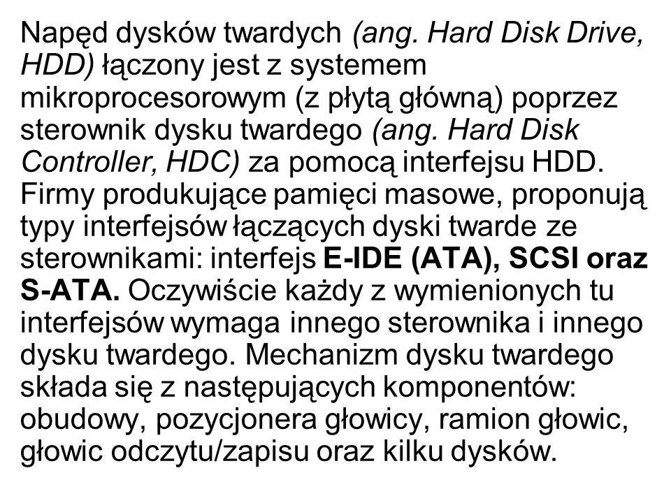 Napęd dysków twardych (ang. Hard Disk Drive, HDD) łączony jest z systemem mikroprocesorowym (z płytą główną) poprzez sterownik dysku twardego (ang. Ha
