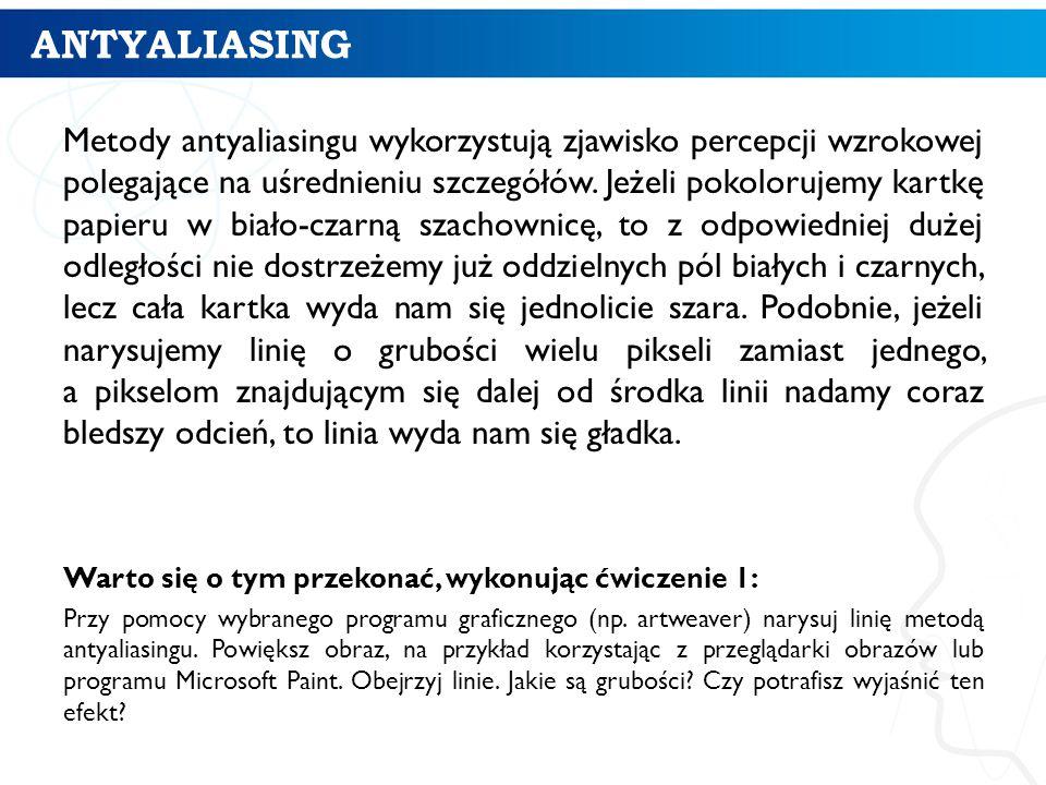 ANTYALIASING Metody antyaliasingu wykorzystują zjawisko percepcji wzrokowej polegające na uśrednieniu szczegółów. Jeżeli pokolorujemy kartkę papieru w