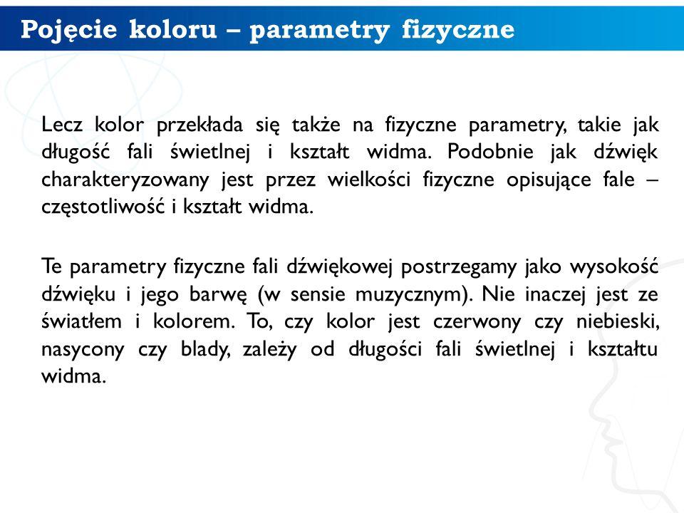 Pojęcie koloru – parametry fizyczne Lecz kolor przekłada się także na fizyczne parametry, takie jak długość fali świetlnej i kształt widma. Podobnie j