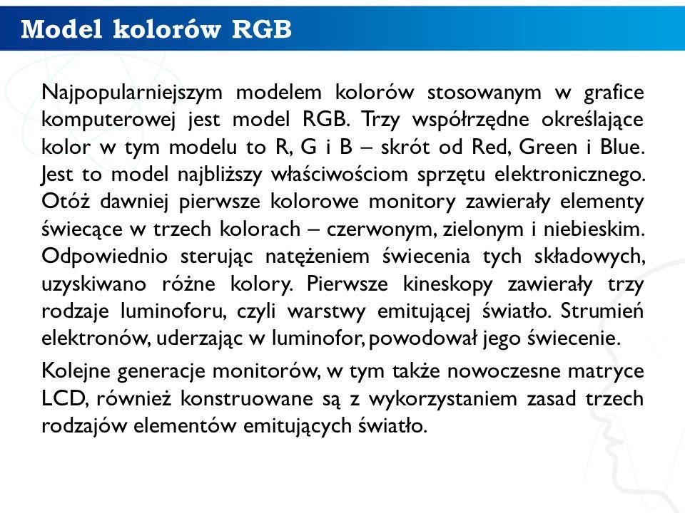 Model kolorów RGB Najpopularniejszym modelem kolorów stosowanym w grafice komputerowej jest model RGB. Trzy współrzędne określające kolor w tym modelu
