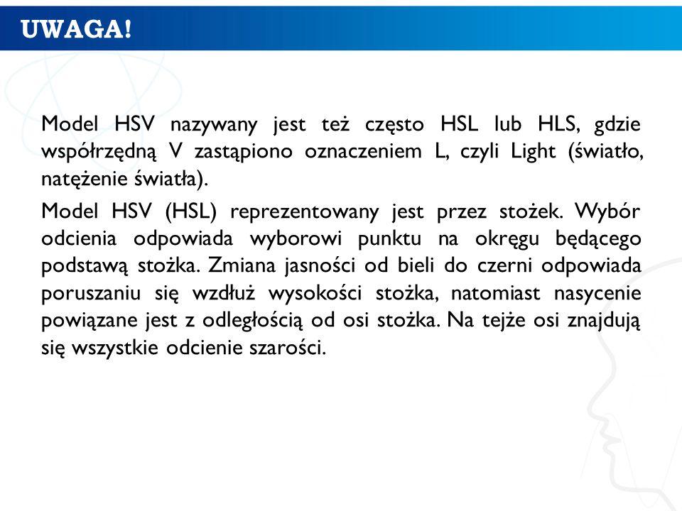 UWAGA! Model HSV nazywany jest też często HSL lub HLS, gdzie współrzędną V zastąpiono oznaczeniem L, czyli Light (światło, natężenie światła). Model H