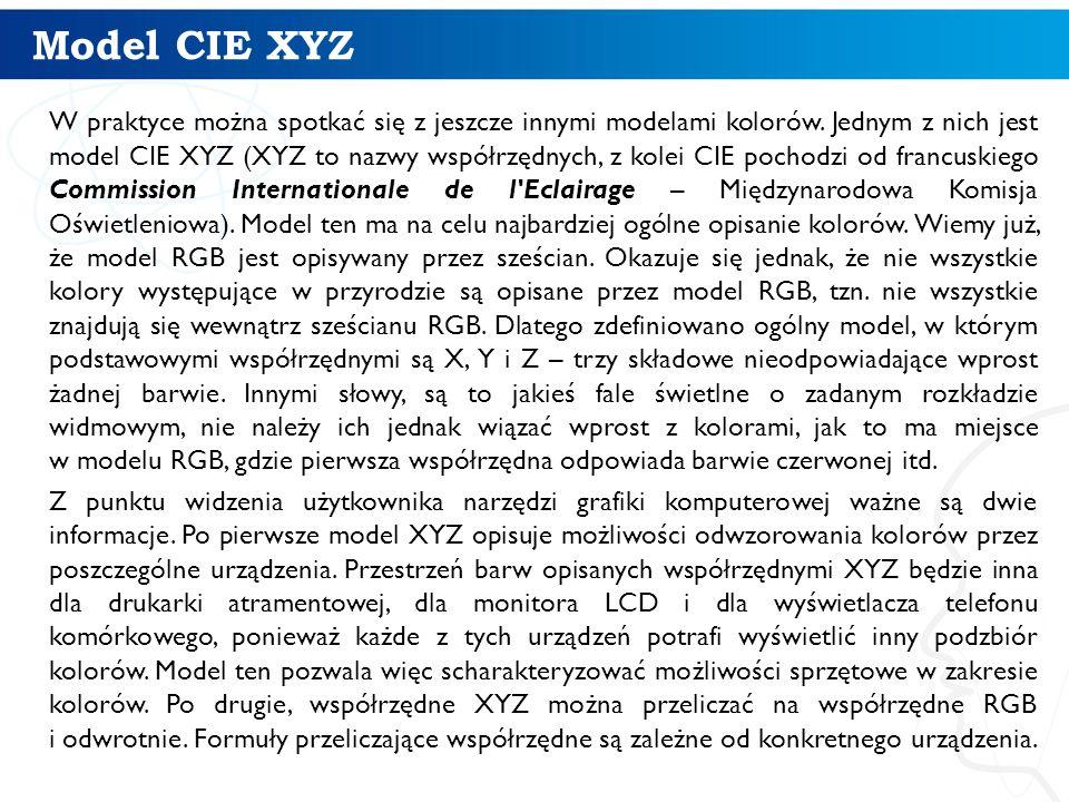 Model CIE XYZ W praktyce można spotkać się z jeszcze innymi modelami kolorów. Jednym z nich jest model CIE XYZ (XYZ to nazwy współrzędnych, z kolei CI