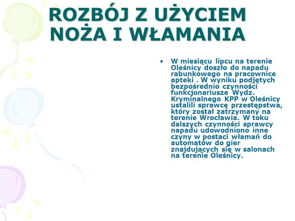 ROZBÓJ Z UŻYCIEM NOŻA I WŁAMANIA W miesiącu lipcu na terenie Oleśnicy doszło do napadu rabunkowego na pracownice apteki.