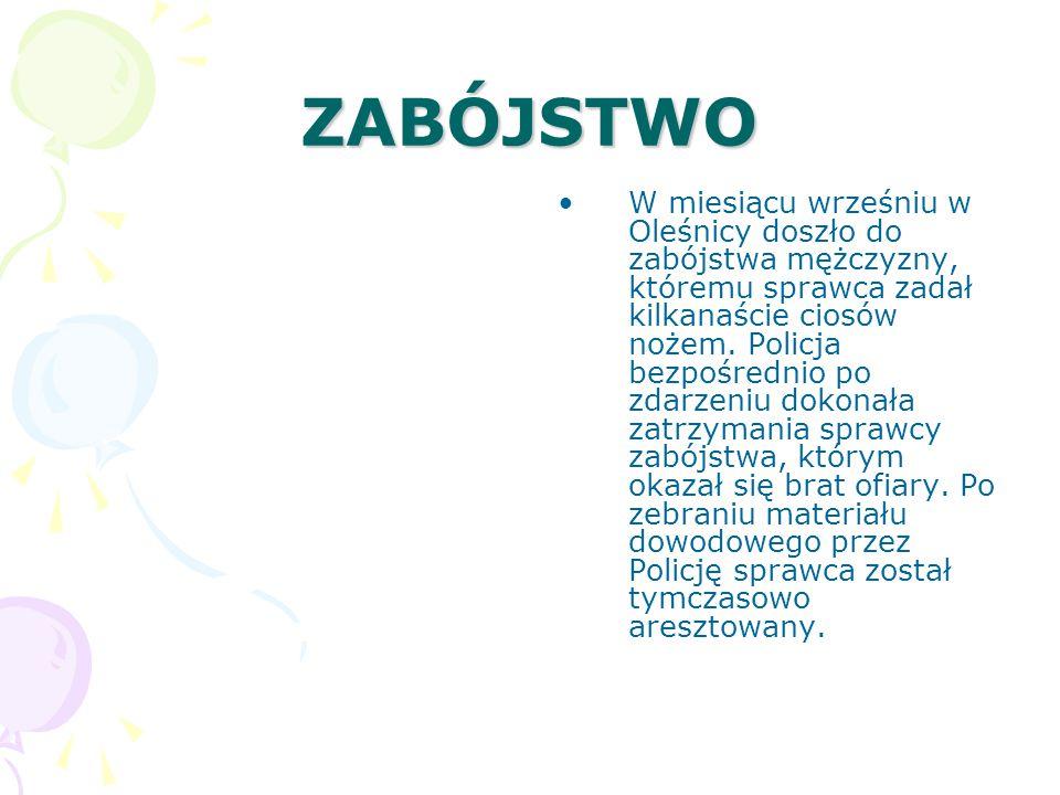 ZABÓJSTWO W miesiącu wrześniu w Oleśnicy doszło do zabójstwa mężczyzny, któremu sprawca zadał kilkanaście ciosów nożem.