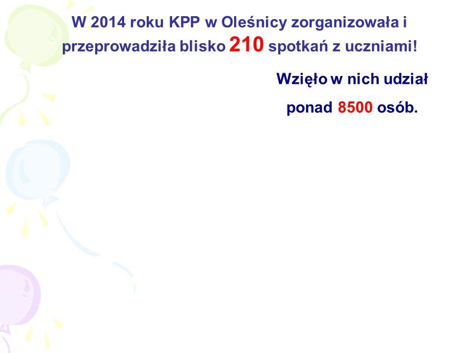 W 2014 roku KPP w Oleśnicy zorganizowała i przeprowadziła blisko 210 spotkań z uczniami.