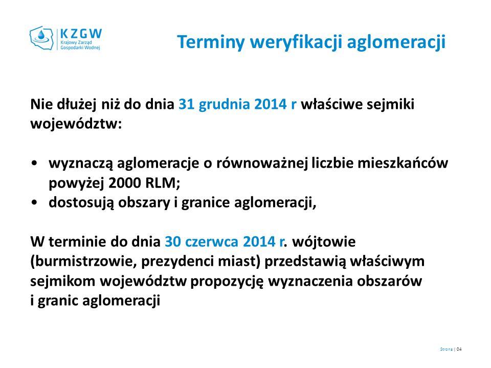 Terminy weryfikacji aglomeracji Nie dłużej niż do dnia 31 grudnia 2014 r właściwe sejmiki województw: wyznaczą aglomeracje o równoważnej liczbie miesz