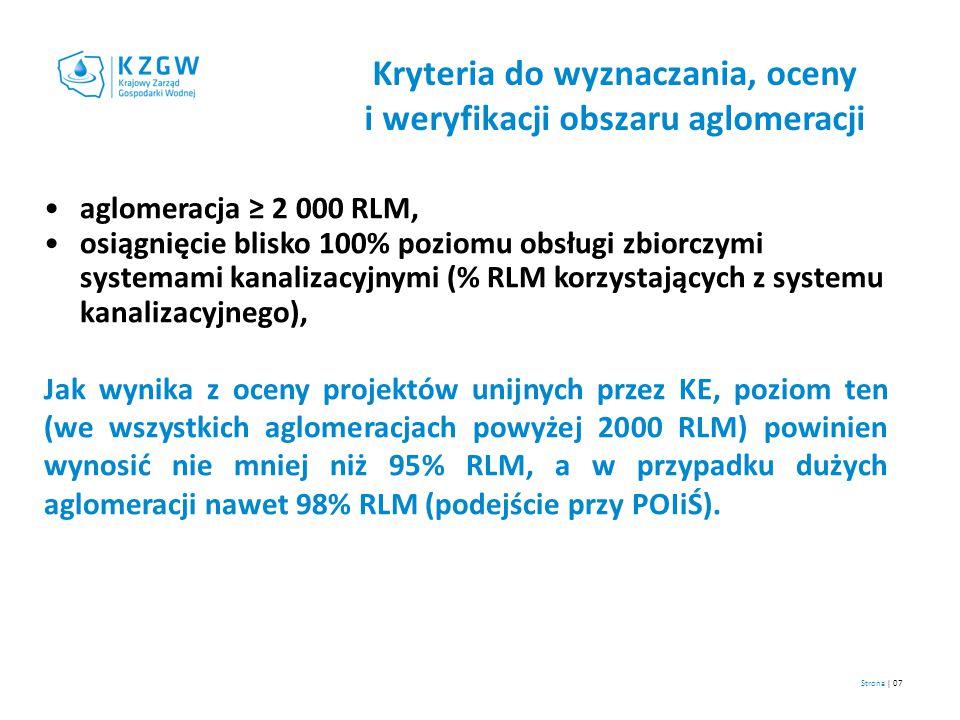 Strona | 07 Kryteria do wyznaczania, oceny i weryfikacji obszaru aglomeracji aglomeracja ≥ 2 000 RLM, osiągnięcie blisko 100% poziomu obsługi zbiorczy