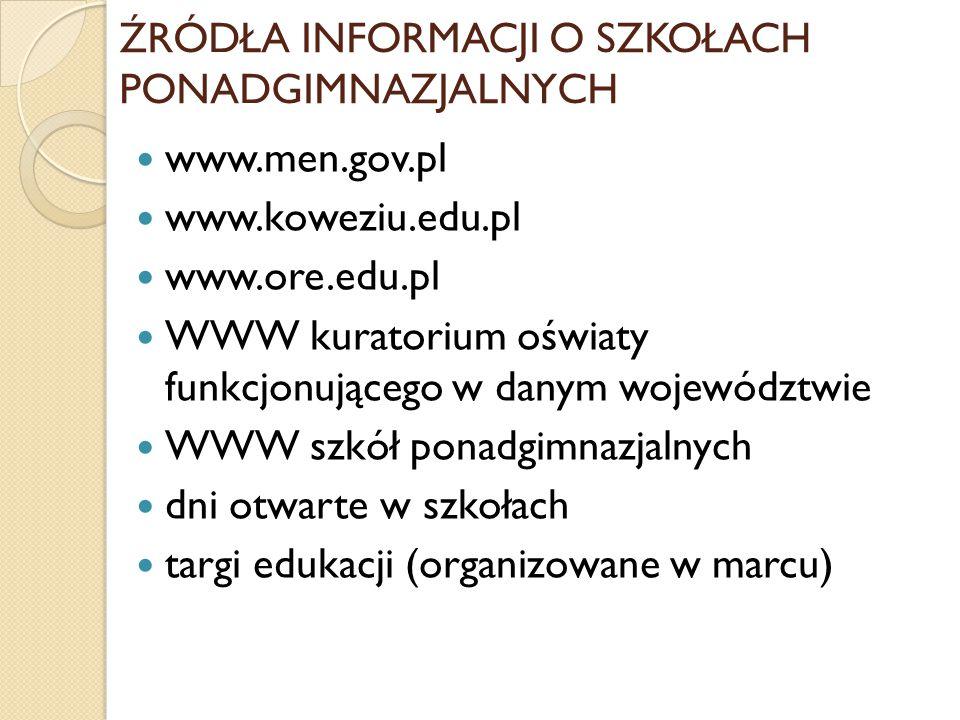 ŹRÓDŁA INFORMACJI O SZKOŁACH PONADGIMNAZJALNYCH www.men.gov.pl www.koweziu.edu.pl www.ore.edu.pl WWW kuratorium oświaty funkcjonującego w danym województwie WWW szkół ponadgimnazjalnych dni otwarte w szkołach targi edukacji (organizowane w marcu)