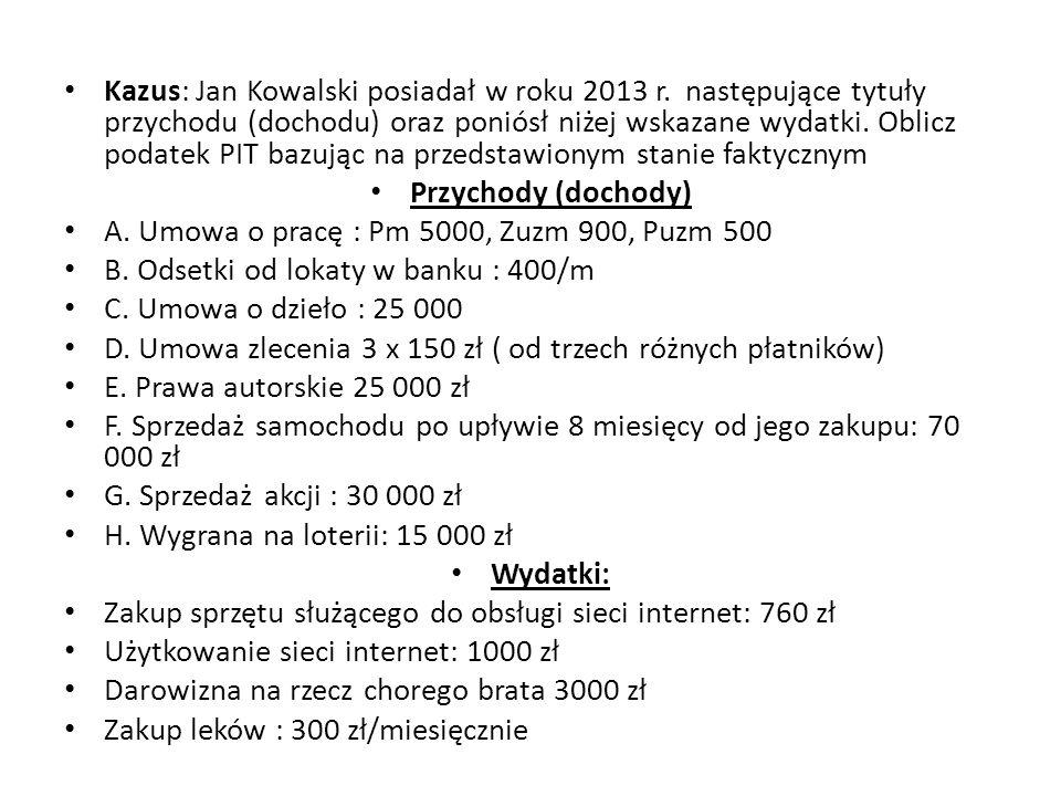 Kazus: Jan Kowalski posiadał w roku 2013 r. następujące tytuły przychodu (dochodu) oraz poniósł niżej wskazane wydatki. Oblicz podatek PIT bazując na