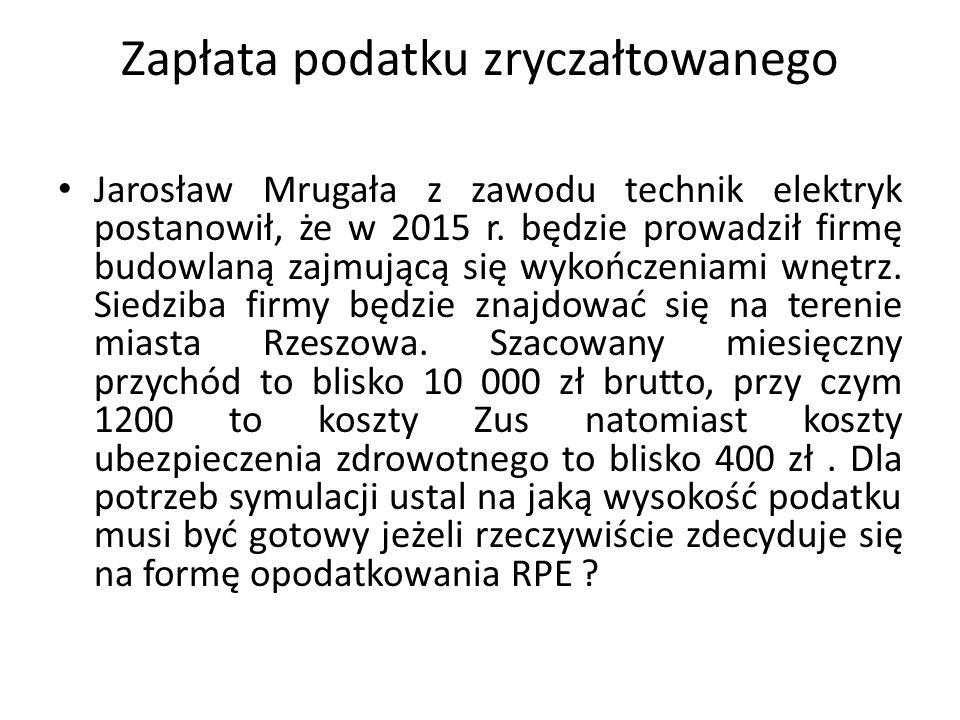 Zapłata podatku zryczałtowanego Jarosław Mrugała z zawodu technik elektryk postanowił, że w 2015 r. będzie prowadził firmę budowlaną zajmującą się wyk
